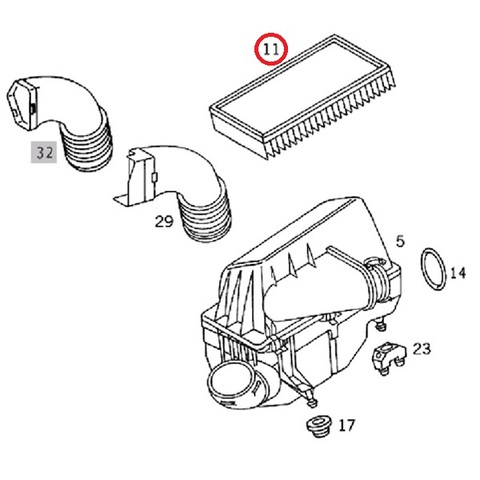 MANN製 ベンツ W210 Eクラス エアフィルター 後期用 新品 E240 E320 E430 C32164 1120940104 1120940204