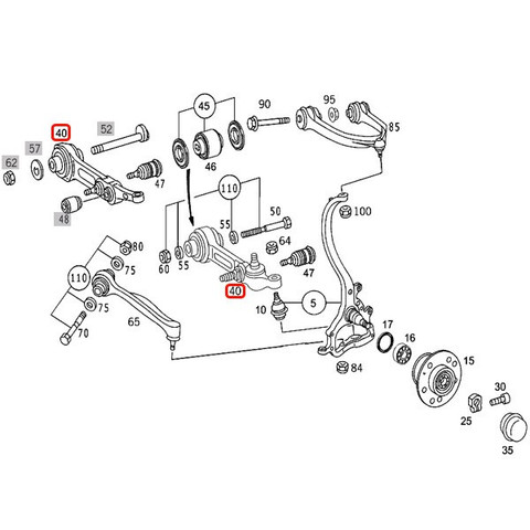 MEYLE製ベンツSクラスW220フロントロアアーム/コントロールアーム 左右 エアサス車用 2203308907 2203309007 set405 S320S350S430S500S55AMG