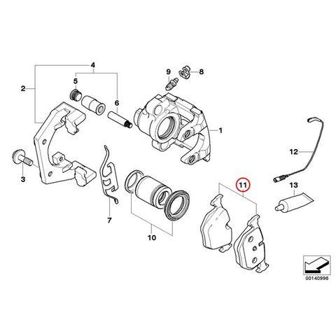 brembo製 BMW 5シリーズ E61 リア/リヤ ブレーキパッド/ディスクパッド 34216763043 34216763044 34216776937 P06033N