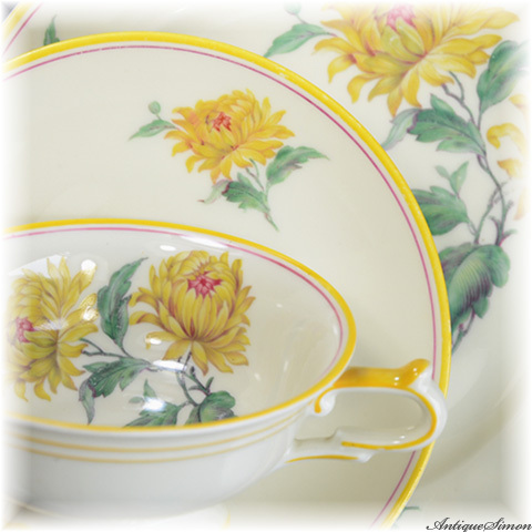 KPM 80年前 発色の美しい菊花のトリオ