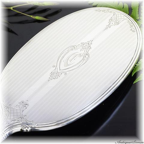 1920年代~1950年代 シルバー925 純銀のドレッサーセット すべて手彫金 手鏡・ブラシ・クシ スターリングシルバー ハンドミラー 優美で明快な美しさ Watson Co. 米国製