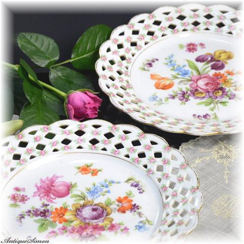 ドイツ シューマンババリア Schumann BAVARIA 2種類のデザイン 柄ちがい飾り皿 プレート2枚組 オープンワークの飾りに小さなバラ 1930年代 品格ある華やかさ 薔薇