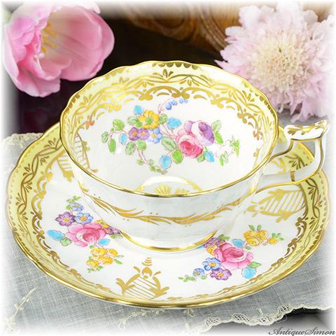 ロイヤルチェルシー 極上美品 1951年~1961年 Royal Chelsea 着彩も金彩もすべてハンドペイント 上品で優美なカップ&ソーサー ターコイズブルーの盛り上がり 手描き アッパークラス