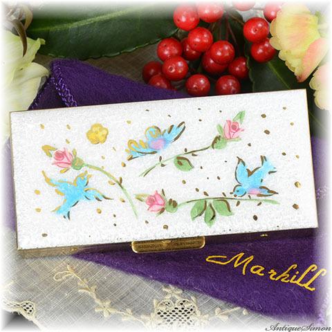 マーヒル Marhill 宝石入れ 未使用パーフェクト ギヨシェ 青い鳥 ロゴ入りポーチも揃った大変良好な小物入れ アクセサリー小箱 ペルラージュ研磨仕上げ ピルボックス Guilloche