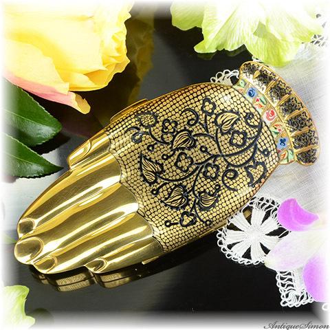 ボルプテ VOLUPTE 最高傑作 1948年 希少品 ゴールデンジェスチャー 黒レース手袋の手 妖艶な魅力 Golden Gesture メンテナンス済 お粉用コンパクト 植物模様 アメリカ製