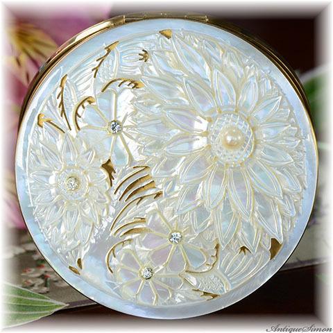 シルドクラウト SCHILDKRAUT 未使用極上美品 特注新品ミラー 熟練職人による驚異の透かし彫り 一枚使いのマザーオブパール 一点物 本真珠も 1950年代 お粉用コンパクト アメリカ製