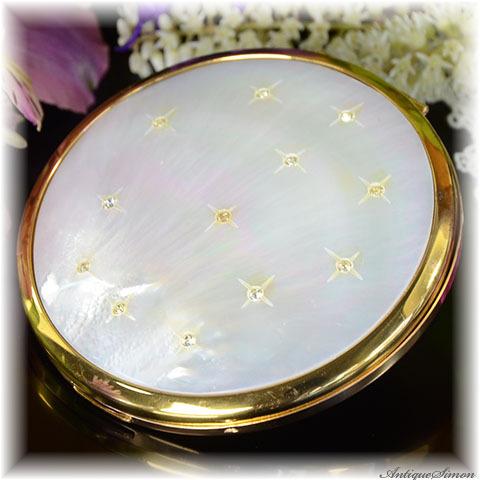 エルジン ELGIN American 極上美品 特注新品ミラー 一枚使いの天然マザーオブパール 虹色の真珠光沢層 ラインストーンの星々 1950年代 お粉用コンパクト アメリカ製
