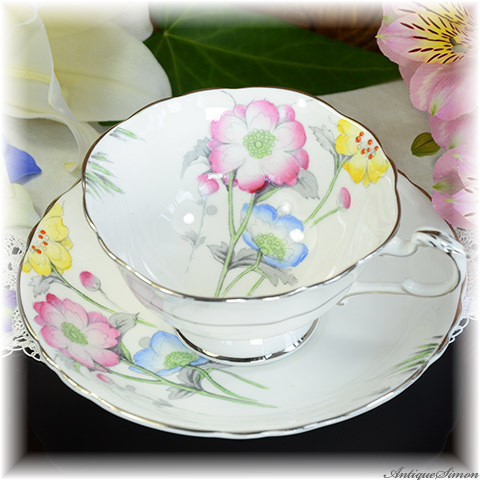 パラゴン PARAGON 着彩はすべてハンドペイント 大らかで優しい花々 銀のギルディング カップ&ソーサー ファインボーンチャイナ しっとりした感触 1952年~1960年