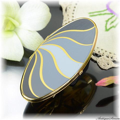 ストラットン Stratton 未使用極上美品 リップビュー モノクロの濃淡エナメル シンプルなデザイン 抽象柄 湧き出る泉 リボン 金彩 鏡付きリップホルダー LIP VIEW