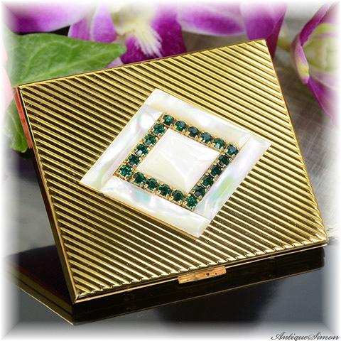 エルジン ELGIN 未使用品 ハッピープライス 特注新品ミラー 天然マザーオブパール エメラルドグリーン色ラインストーン 1950年代 お粉用コンパクト American Beauty 真珠光沢