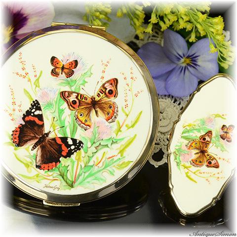 ストラットン Stratton 未使用ほぼパーフェクト特注新品ミラーのコンパクト やさしい印象 蝶と野花のイラスト お粉プレスト両用 ミニ・コンバーチブル リップビュー 2点セット