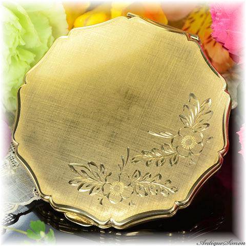 ストラットン Stratton 未使用ほぼパーフェクト 特注新品ミラー 熟練の手彫金 シルクの布地 職人による一点物 絹目調仕上げ お粉プレスト両用 クイーンタイプ 手彫り 植物模様 コンパクト