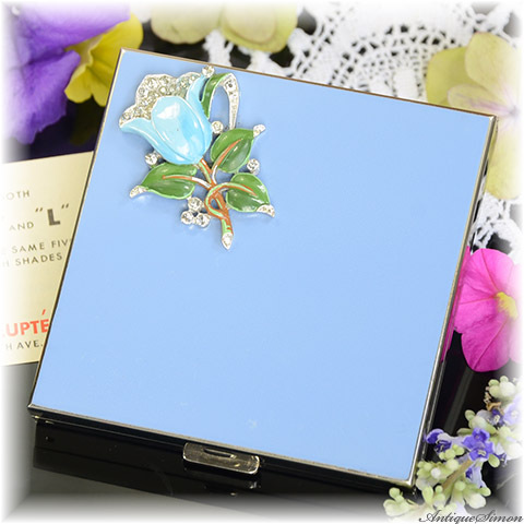 ボルプテ VOLUPTE 未使用ほぼパーフェクト 特注新品ミラー VOLUPTEの絶頂期 両面ともエナメル ラインストーンのモチーフ ハンドペイントの花 お粉用コンパクト 1940年代後半 アメリカ製