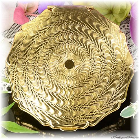 ストラットン Stratton 未使用品 芸術的な作品 特注新品ミラー 熟練彫金師によるエンジンターン彫金 ダイヤモンドカット 強い輝き 希少デザイン お粉プレスト両用 クイーンタイプ コンパクト