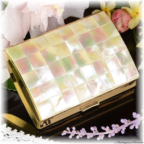 英国メリッサ MELISSA 極上美品 クールな格好良さ みごとな面取り 小物入れケース 虹色の真珠光沢 40枚の天然マザーオブパール 精確な作り お気に入りの宝物を入れて