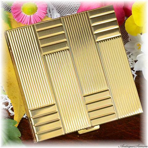 ボルプテ VOLUPTE 未使用パーフェクト 特注新品ミラー 堂々たる存在感 パワフルなアールデコ・デザイン まばゆい鏡面仕上げ お粉用コンパクト 1950年代 アメリカ製