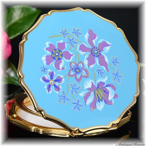 ストラットン Stratton 未使用ほぼパーフェクト 特注新品ミラー みごとな金彩の装飾 ターコイズブルー 花言葉は精神の美 クレマチス 鉄線 お粉プレスト両用 クイーンタイプ コンパクト