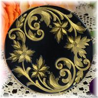 エルジン ELGIN American 未使用極上美品 特注新品ミラー 熟練の線彫り つややかに光る黒エナメル 優美な植物模様 漆黒の輪島塗のようなお粉用コンパクト アメリカ製