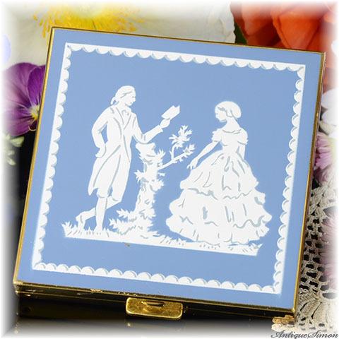 ボルプテ VOLUPTE 未使用極上美品 特注新品ミラー ラブストーリー クラシカルな美しさ シックなブルー ツヤ消しのエナメル お粉用コンパクトミラー 1950年代 アメリカ製