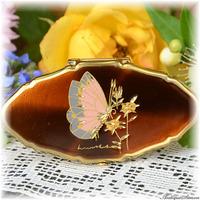 ストラットン Stratton 未使用ほぼパーフェクトのリップビュー 価値ある手彫金 バーガンディ色 チョウ 軽妙な蝶 熟練職人による手彫り 旭光仕上げ 鏡付きリップホルダー LIP VIEW