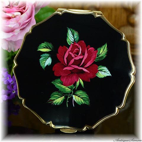 ストラットン Stratton 未使用パーフェクト 特注新品ミラー 真紅のバラ 花の香気 葉の表現もみごと 黒エナメルに映えるみごとな薔薇 お粉プレスト両用 クイーンタイプ コンパクトミラー
