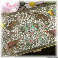 ボルプテ VOLUPTE 価値ある極上美品 個性的 ハッピープライス 全面に装飾 まばゆく輝く特殊な技法 ペルシャの聖なる鳥獣 シガレットケース 1940年代 カードケース ヴィンテージの味わい