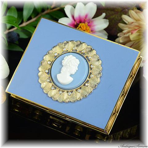 ボルプテ VOLUPTE 未使用極上美品 特注新品ミラー 側面の造形がスカラップ形 シックなカメオ ハートの花環 アッパークラスを意識したデザイン お粉用コンパクトミラー 1950年代