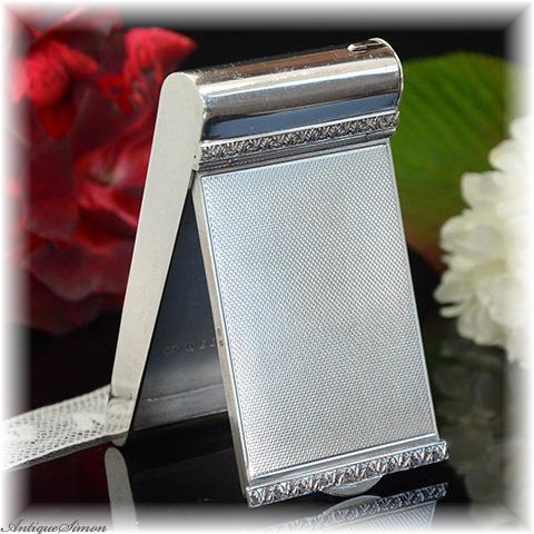 英国1950年作 純銀シルバー925イギリス銀製品の凄味 宝石入れ特注新品ミラー スタイリッシュな縦長コンパクト Dyas Beverley Hampton エンジンターン彫金 スターリングシルバー