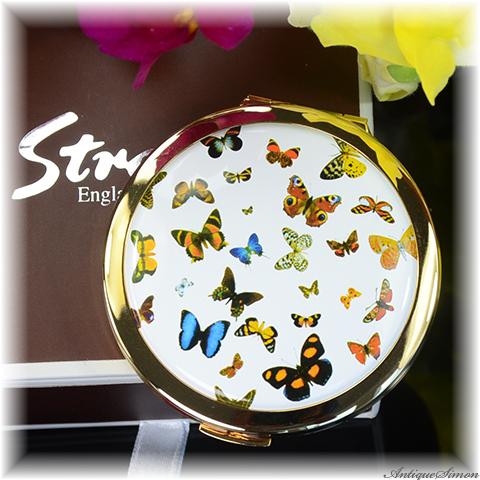 復刻版ストラットン Stratton of MAYFAIR 未使用ほぼパーフェクト 拡大鏡と等倍鏡 ダブルミラー 世界のチョウ 白エナメル 人気の蝶シリーズ 自然の美しさ 2000年代の製品