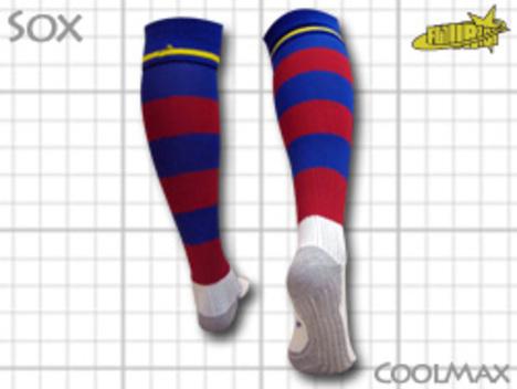 CoolMAX採用 コンプレッションソックス 紺x赤ボーダー(ブラウグラナ) M or Lサイズ