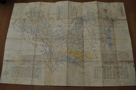 明治初 地図 絵図 極大図『下総国輿地全図』彩色木版