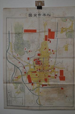 大正 戦前 地図 絵図 彩色石版画『松本市全図』長野県