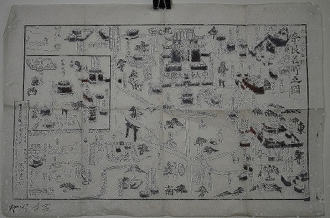 明治初 地図 鳥瞰図 絵図『奈良名所之図』木版画 東大寺