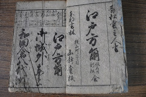 江戸 『江戸方角 仮名付新板 全』木版 名所