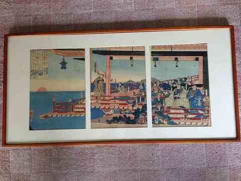 江戸 浮世絵 国芳 彩色『平清盛 日の出3枚組』額付
