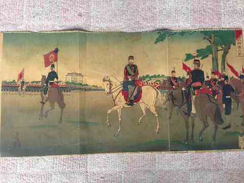明治 浮世絵 彩色木版 清親『観兵式御幸之図3枚組』