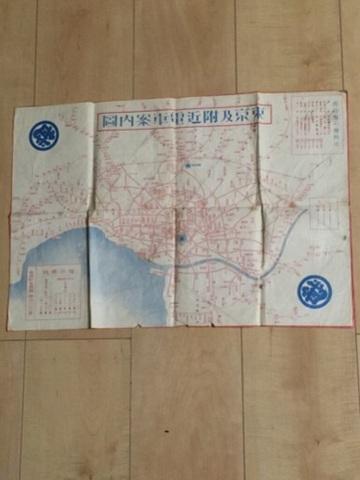 昭和初期 戦前 地図 絵図 全図 引き札 広告『東京 及び 付近 電車 案内図』三越