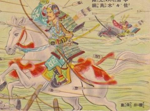 アンティークポストカード『宇治川の先陣 佐々木高綱』戦前