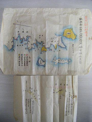 明治 地図 全図 宮城『牡鹿郡 石巻 保安林 絵図 4点』