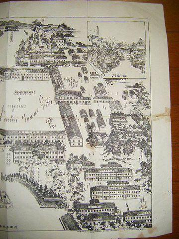 明治 地図 絵図 砂目 石版『近衛歩兵第一旅団全景』東京