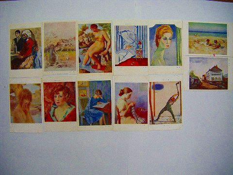 昭和初 戦前 彩色『絵葉書 フランス 美術 展覧会 12点』