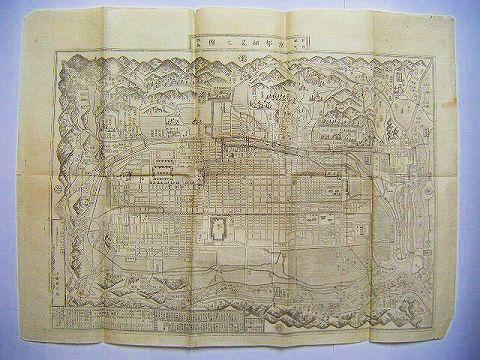 江戸 明治 地図 絵図 細密銅版『京都細見之図 引き札 名所』