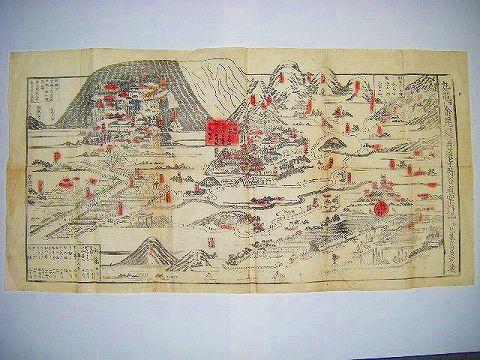 江戸 浮世絵 地図 絵図 芳虎『金毘羅 参詣 案内 大 略図』