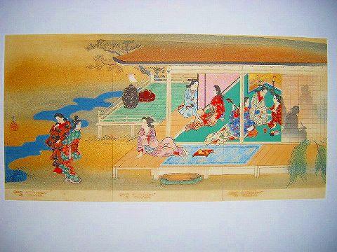 昭和初 戦前 浮世絵『絵葉書 彩色 木版画 長春 3枚続き』