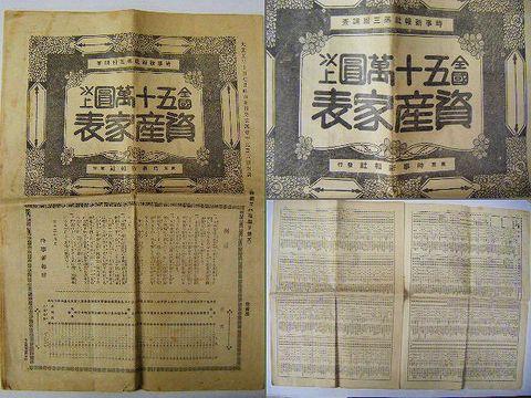 大正初 長者 番付『全国 五十万円 以上 資産家 表』