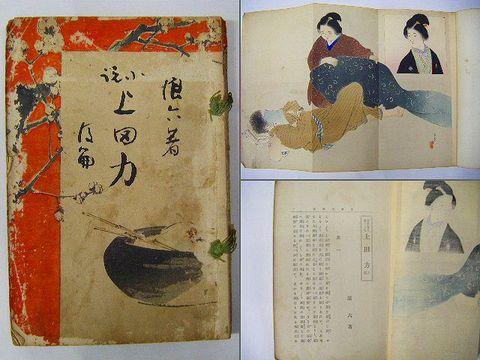 明治 浮世絵 彩色 木版 年方『浪六 弦斎 小説 8冊』