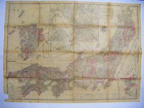 明治 地図 絵図 彩色 細密銅版『大 日本 全図 大阪』鉄道