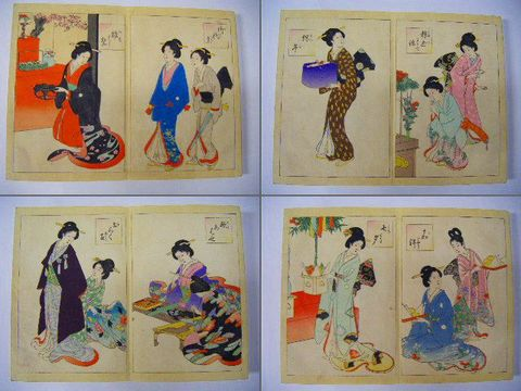 明治 浮世絵 彩色 木版 美人 風俗『12ヶ月 行事』