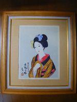 昭和初 『竹久夢二 高見澤 彩色木版 限定 木場の娘』