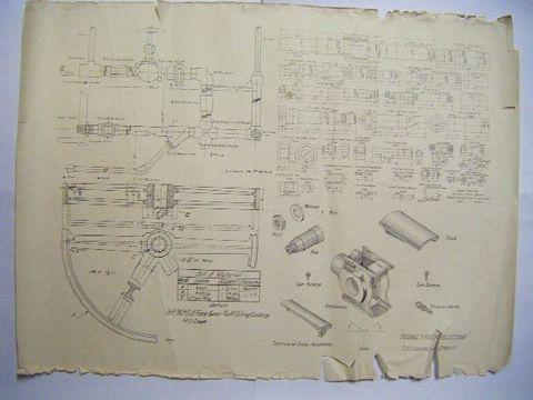 大正 戦前 軍隊 資料『海軍 機械 関係 設計図 等6点』
